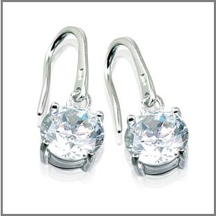 silver earrings, cz earrings